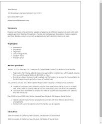 1 Hospice Social Worker Resume Templates Try Them Now Myperfectresume