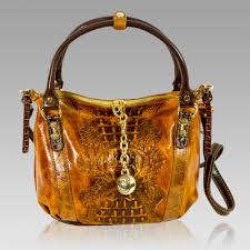 marino orlandi cognac alligator embossed leather purse cross bag