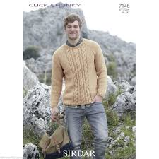 Mens Sweater Knitting Pattern Delectable 48 SIRDAR CLICK CHUNKY MENS SWEATER KNITTING PATTERN TO FIT