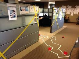 office halloween decorations. Cube Decorating Contest In The Office Happy Halloween Crime Scene Desk Decorations
