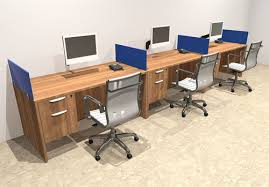 person office desk. Three Person Blue Divider Office Workstation Desk Set, #OT-SUL-SPB25 T