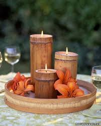 What a pretty way to decorate the table with these bamboo candles when  you're