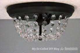 update a standard dome ceiling light to look like pottery barn mia crystal flushmount step