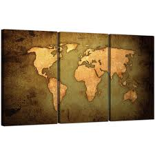 world map painting canvas fresh vintage world map canvas art set of three for your study