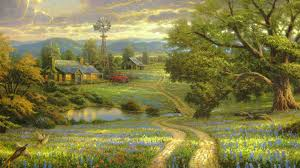 1920x1080 Wallpaper painting, art, landscape, road, country, at home,  village