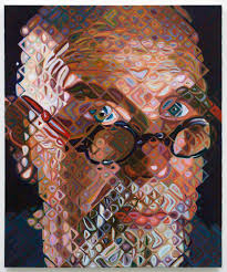 painting style by chuck close close up it looks abstract but the her away you