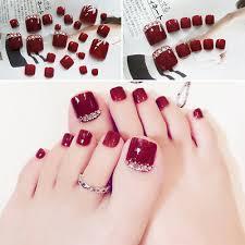 24pcs Set Fashion Gray False Fake Artificial Toe Nails Tips