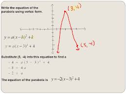 write the equation of the parabola using vertex form