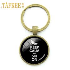 <b>TAFREE</b> Time To Sports Keep Calm And Ski On Keychain Casual ...