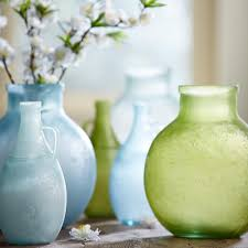 sandblasted recycled glass vase collection