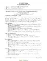 Regular Retail Manager Description Resume Job Description Resume