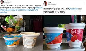 Muller Light Yogurt Tesco Muller Lighter Customers Complain Of Shrinkflation