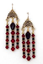 03 04 730 red black swarovski crystal chandelier earrings