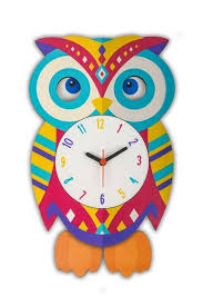 swinging pendulum owl wall clock quartz