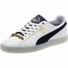 mens puma legacy collection clyde leather sneakers white navy yellow 288ldpitf