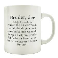 Tasse Kaffeebecher Bruderherz Spruch Geschenk Motiv Bruder