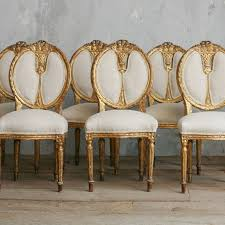 vine gold gilt upholstered dining side chairs set of 6 louis xvi