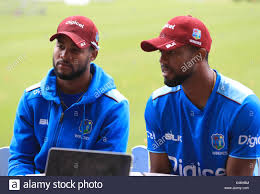 West Indies' Shai Hope (left) and his brother Kyle Hope (right ...