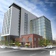 rendering of the planned hilton garden inn at 20th street and chestnut place in denver s union