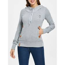 Wholesale <b>Drawstring Pocket Design Embroidered</b> Hoodie In Light ...