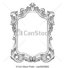 mirror frame drawing. Baroque Rococo Mirror Frame - Csp43234663 Mirror Drawing N