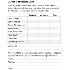 customer info card template restaurant customer comment card template