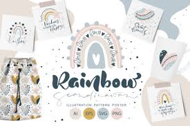 You can copy, modify, distribute and perform the work, even for commercial purposes, all without asking permission. Rainbow Scandinavian Graphic By Happy Letters Creative Fabrica