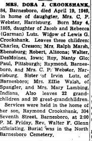 Obituary for DORA J. CROOKSHANK, 1865-1949 (Aged 84) - Newspapers.com