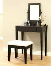 brown wooden makeup vanity table with bench single mirror and drawer bedroom set