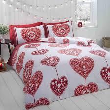 details about brushed cotton flannelette skandi hearts red super king size duvet cover set