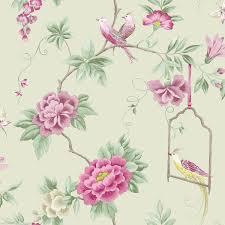 Vogels Behang Bloemen Bloemen Bladeren Wildlife Natuur In Amethyst