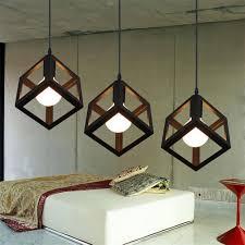 Metal Pendant Lighting Modern Led Pendant Lamp Metal Cube Cage Lampshade Pendant Light