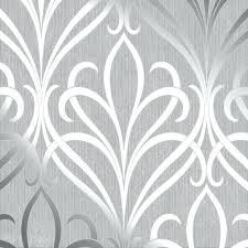 grey floral wallpaper damask soft silver next