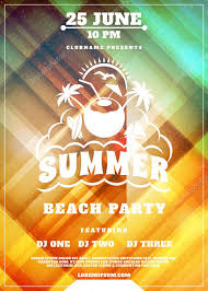 Party Flyer Fascinating Summer Beach Party Flyer Or Poster Summer Night Party Vector