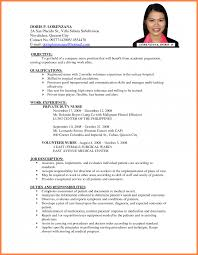 Resume Format For Company Job