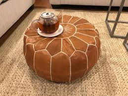 moroccan leather pouf light brown
