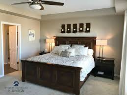 sherwin williams barcelona beige best neutral paint colour bedroom with beige carpet dark wood furniture kylie m edesign