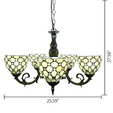 5 light beige stained glass tiffany style chandelier in antique bronze finish