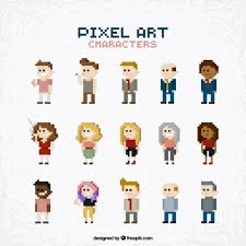 Pixel Character Template Collection Of People In Pixel Art Style Vector Free Download