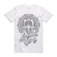 X Amy Billing Collab Ganesh White T Shirt Fine Dotblackwork Tattoo