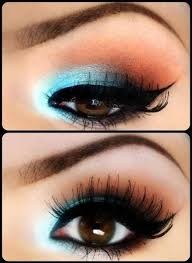 professional makeup with the help of light blue and red colors what was made for dark brown eyes