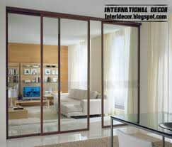 modern sliding glass door with aluminum frames for office room interior