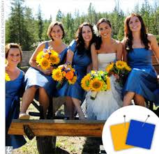 royal blue and yellow wedding colors. i think your color combination is fun! saw some, hope this helps! royal blue and yellow wedding colors