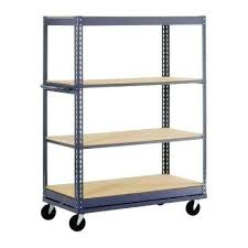 industrial bookcase with wheels metal shelving on wheels astonishing garage shelves racks storage the home depot ideas 3