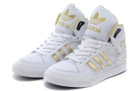 adidas shoes gold and white. 2014 new adidas high-top shoes for women white gold and t