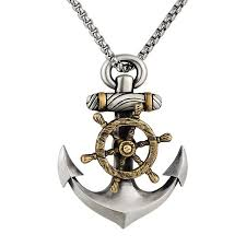 home jewellery s925 sterling silver anchor steering wheel pendant necklace