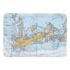 Fl Key West Fl Nautical Chart Memory Foam Bath Mat