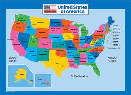 Amazon.com : USA Map for Kids - Laminated - United States Wall Chart Map  (18 x 24) : Office Products