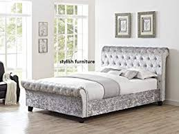 upholstered sleigh bed frame. Wonderful Sleigh Silver Crushed Velvet Upholstered Sleigh Bed Frame With Diamond Buttons 5ft  Kingsize On Y