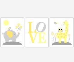 baby nursery canvas wall art yellow gray grey elephant giraffe jungle safari animals canvas prints baby
